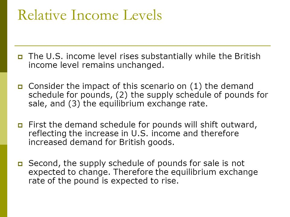 Relative Income Levels The U.S. income level rises substantially while the British income level remains unchanged. Consider the impact of this scenari