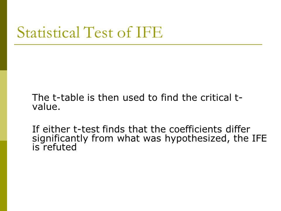 Statistical Test of IFE The t-table is then used to find the critical t- value. If either t-test finds that the coefficients differ significantly from