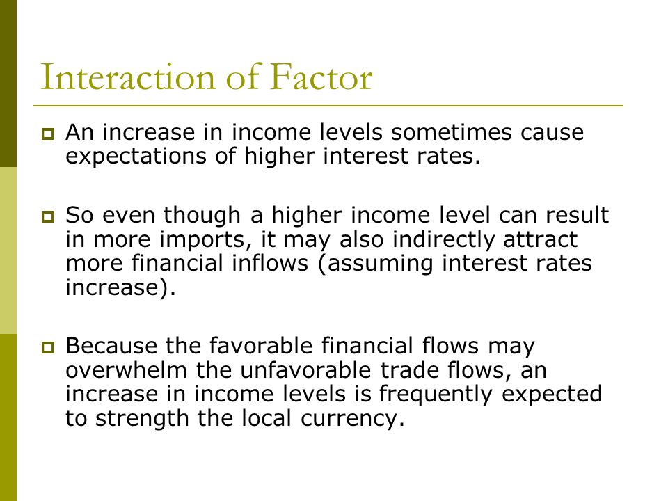 Interaction of Factor An increase in income levels sometimes cause expectations of higher interest rates. So even though a higher income level can res