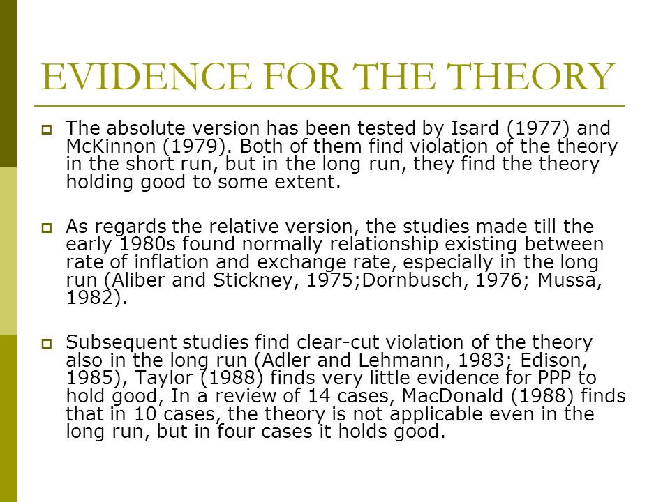 EVIDENCE FOR THE THEORY The absolute version has been tested by Isard (1977) and McKinnon (1979). Both of them find violation of the theory in the sho