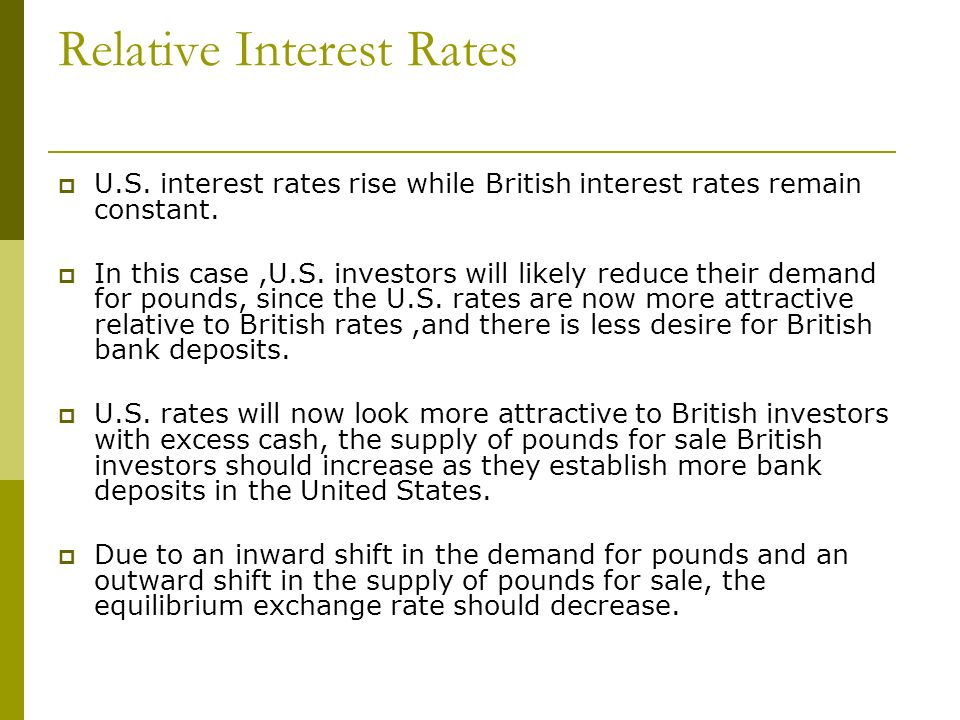 Relative Interest Rates U.S. interest rates rise while British interest rates remain constant. In this case,U.S. investors will likely reduce their de