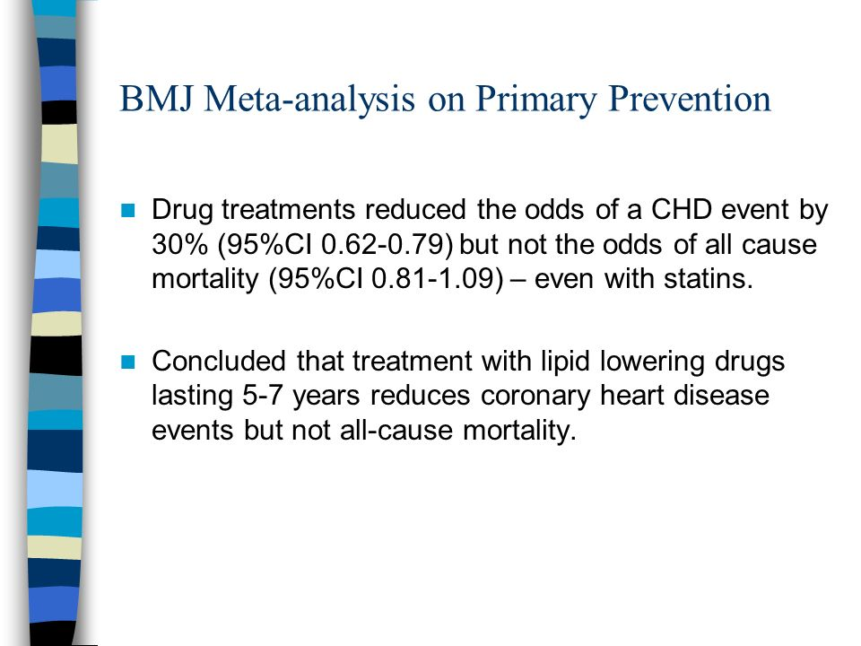 BMJ Meta-analysis on Primary Prevention Drug treatments reduced the odds of a CHD event by 30% (95%CI 0.62-0.79) but not the odds of all cause mortali