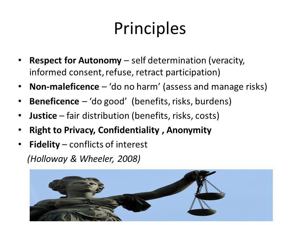 Principles Respect for Autonomy – self determination (veracity, informed consent, refuse, retract participation) Non-maleficence – do no harm (assess