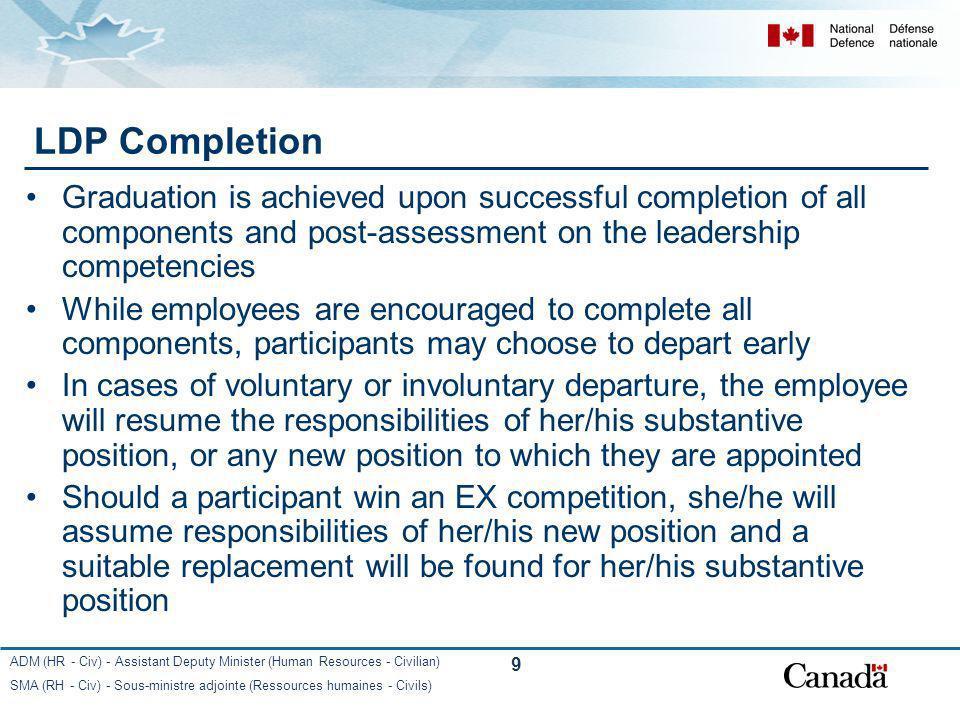 ADM (HR - Civ) - Assistant Deputy Minister (Human Resources - Civilian) SMA (RH - Civ) - Sous-ministre adjointe (Ressources humaines - Civils) 9 LDP C