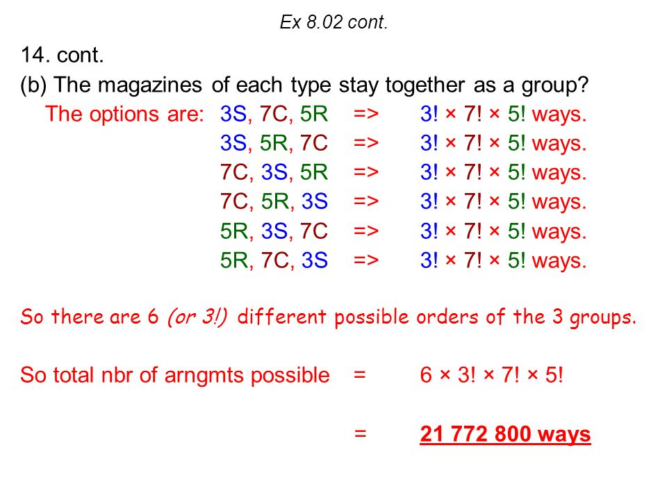 Ex 8.02 cont. 14. cont. (b) The magazines of each type stay together as a group.