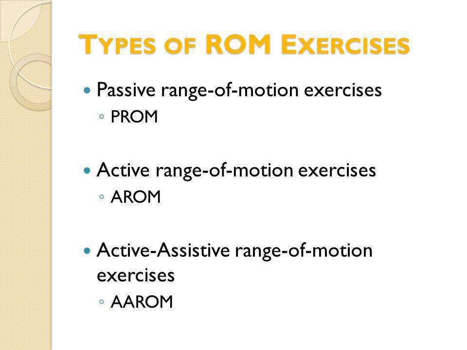 T YPES OF ROM E XERCISES Passive range-of-motion exercises PROM Active range-of-motion exercises AROM Active-Assistive range-of-motion exercises AAROM