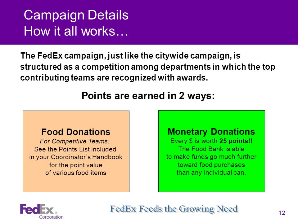 12 Campaign Details How it all works… The FedEx campaign, just like the citywide campaign, is structured as a competition among departments in which t