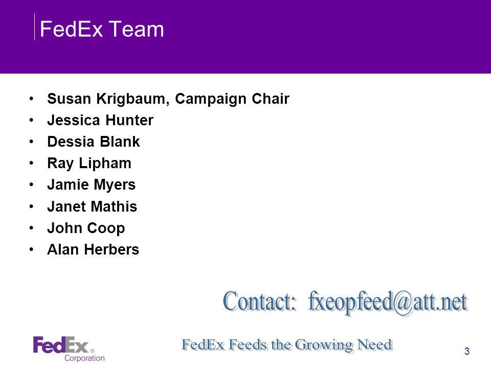 3 FedEx Team Susan Krigbaum, Campaign Chair Jessica Hunter Dessia Blank Ray Lipham Jamie Myers Janet Mathis John Coop Alan Herbers