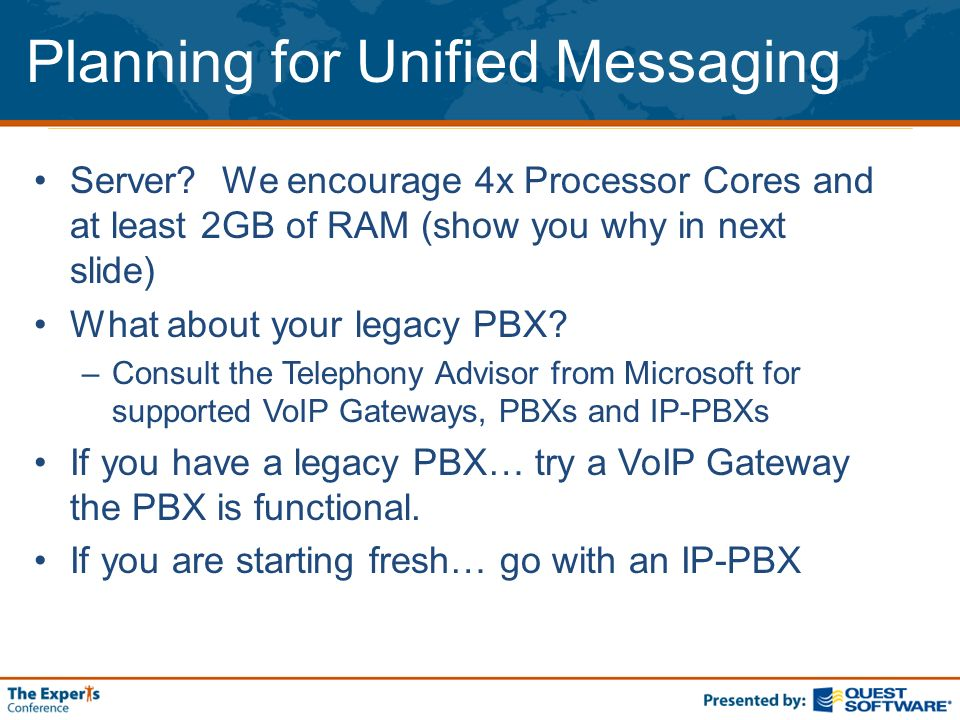 Planning for Unified Messaging Server.