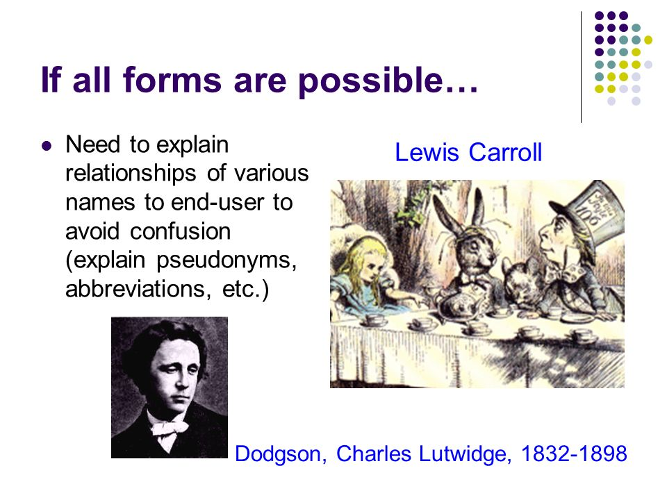 If all forms are possible… Need to explain relationships of various names to end-user to avoid confusion (explain pseudonyms, abbreviations, etc.) Lewis Carroll Dodgson, Charles Lutwidge, 1832-1898