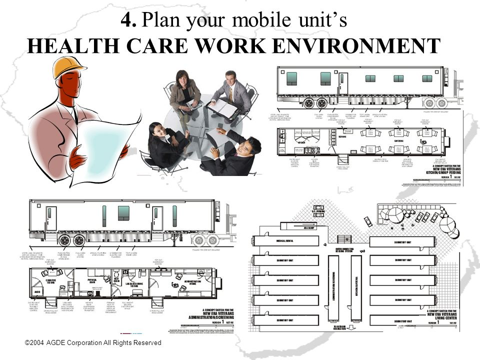 4. Plan your mobile units HEALTH CARE WORK ENVIRONMENT ©2004 AGDE Corporation All Rights Reserved