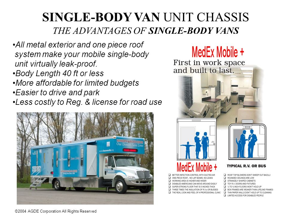 SINGLE-BODY VAN UNIT CHASSIS THE ADVANTAGES OF SINGLE-BODY VANS All metal exterior and one piece roof system make your mobile single-body unit virtual