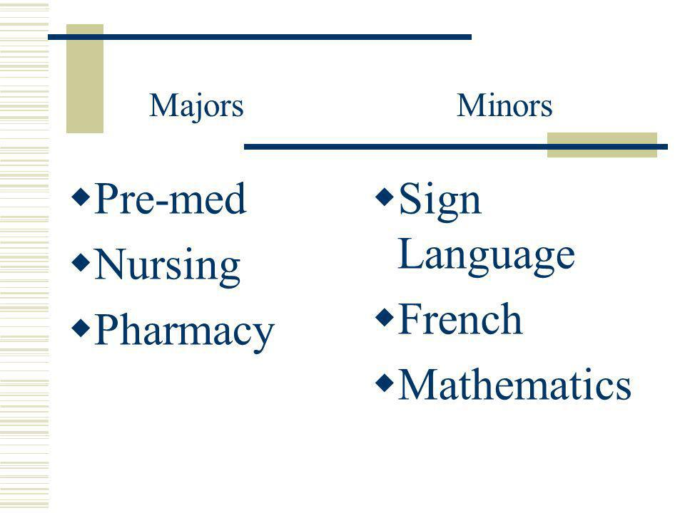 Pre-med Nursing Pharmacy Sign Language French Mathematics MajorsMinors