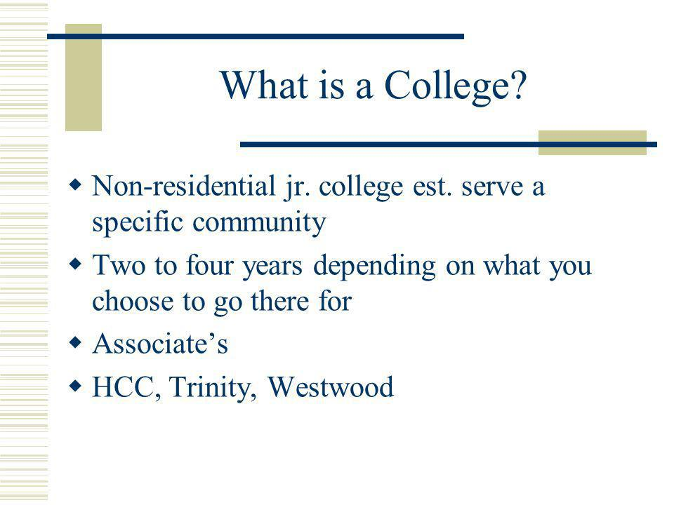 What is a College. Non-residential jr. college est.