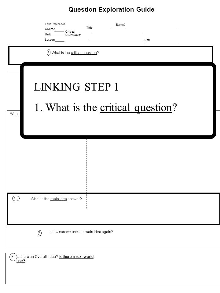 Question Exploration Guide Date : Title Critical Question #: Name : Text Reference Course Lesson Unit How can we use the main idea again.
