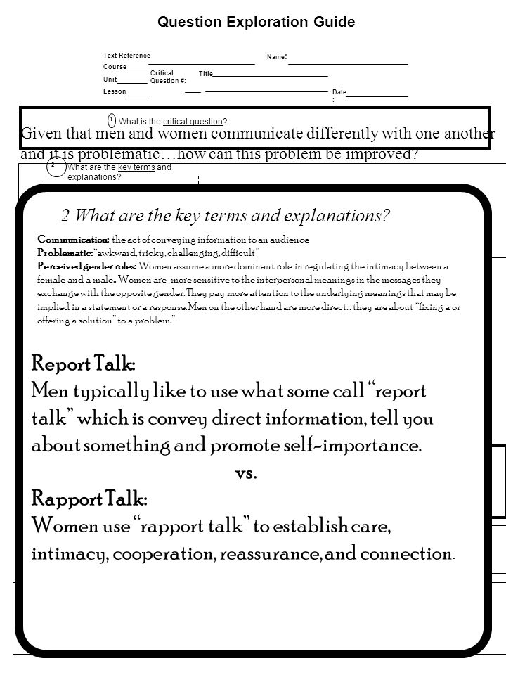 Question Exploration Guide Date : Title Critical Question #: Name : Text Reference Course Lesson Unit How can we use the main idea again? 5 Is there a
