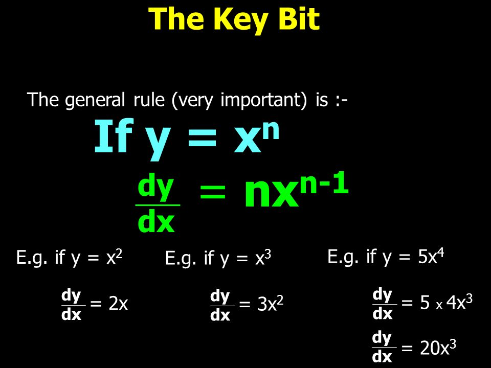 The Key Bit The general rule (very important) is :- If y = x n dy dx = nx n-1 E.g. if y = x 2 = 2x dy dx E.g. if y = x 3 = 3x 2 dy dx E.g. if y = 5x 4