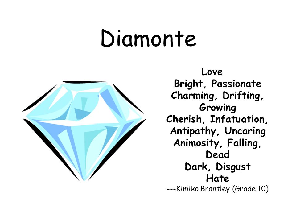Diamonte Love Bright, Passionate Charming, Drifting, Growing Cherish, Infatuation, Antipathy, Uncaring Animosity, Falling, Dead Dark, Disgust Hate ---