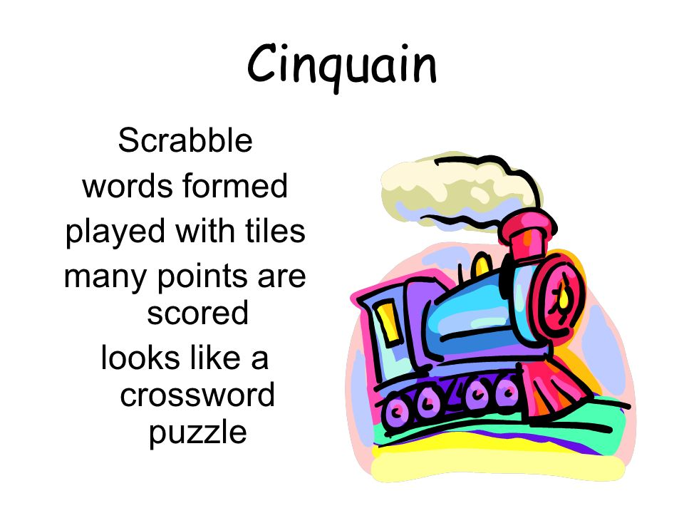 Cinquain Scrabble words formed played with tiles many points are scored looks like a crossword puzzle