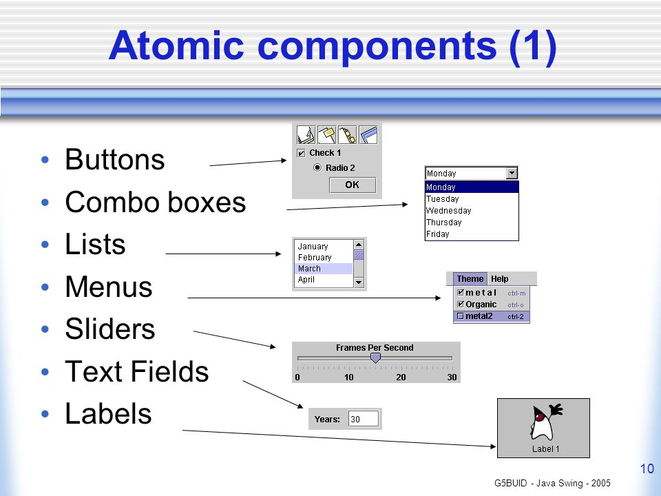 G5BUID - Java Swing - 2005 10 Atomic components (1) Buttons Combo boxes Lists Menus Sliders Text Fields Labels
