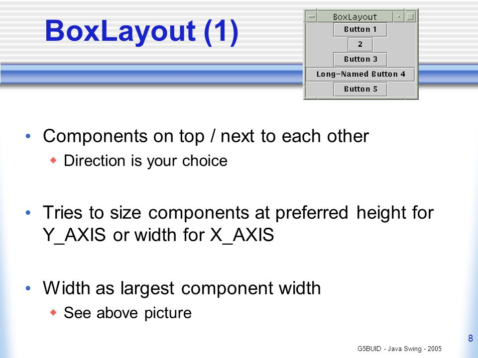 G5BUID - Java Swing - 2005 8 BoxLayout (1) Components on top / next to each other Direction is your choice Tries to size components at preferred height for Y_AXIS or width for X_AXIS Width as largest component width See above picture