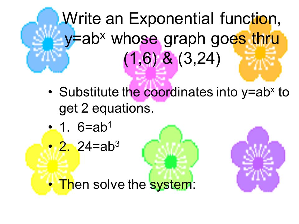 Write an Exponential function, y=ab x whose graph goes thru (1,6) & (3,24) (continued) 1.