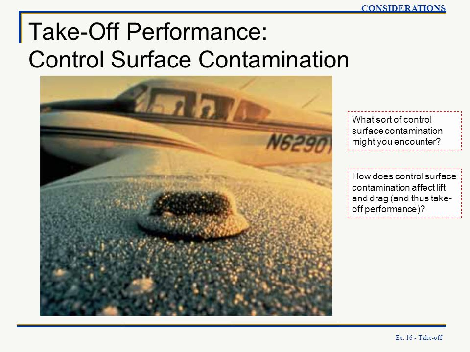 Ex. 16 - Take-off Take-Off Performance: Control Surface Contamination CONSIDERATIONS What sort of control surface contamination might you encounter? H