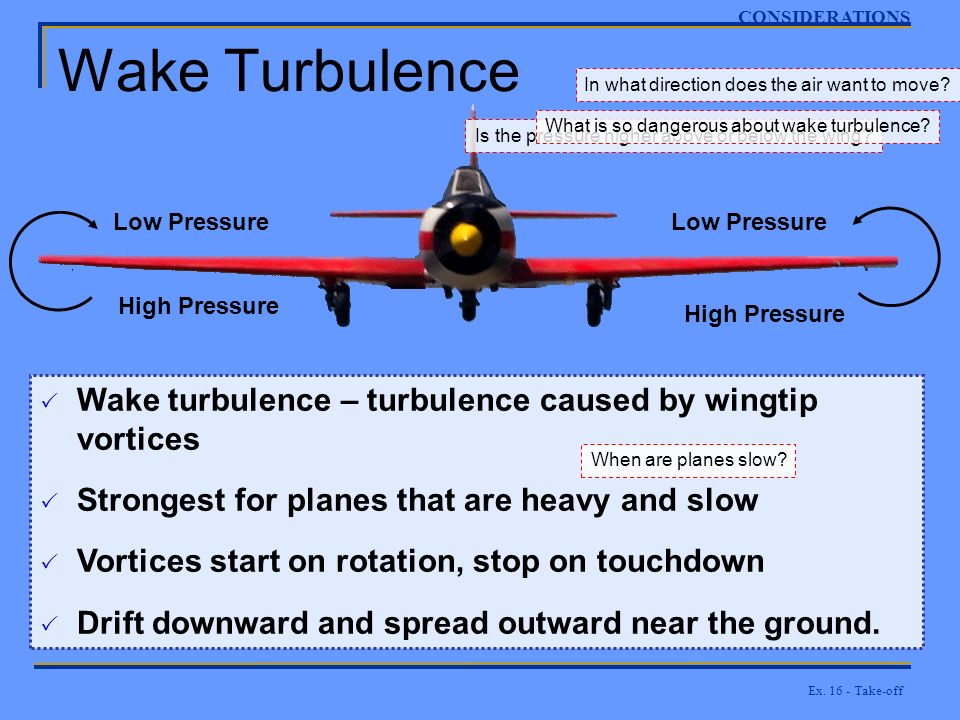 Ex. 16 - Take-off Wake Turbulence CONSIDERATIONS High Pressure Low Pressure Is the pressure higher above or below the wing? In what direction does the