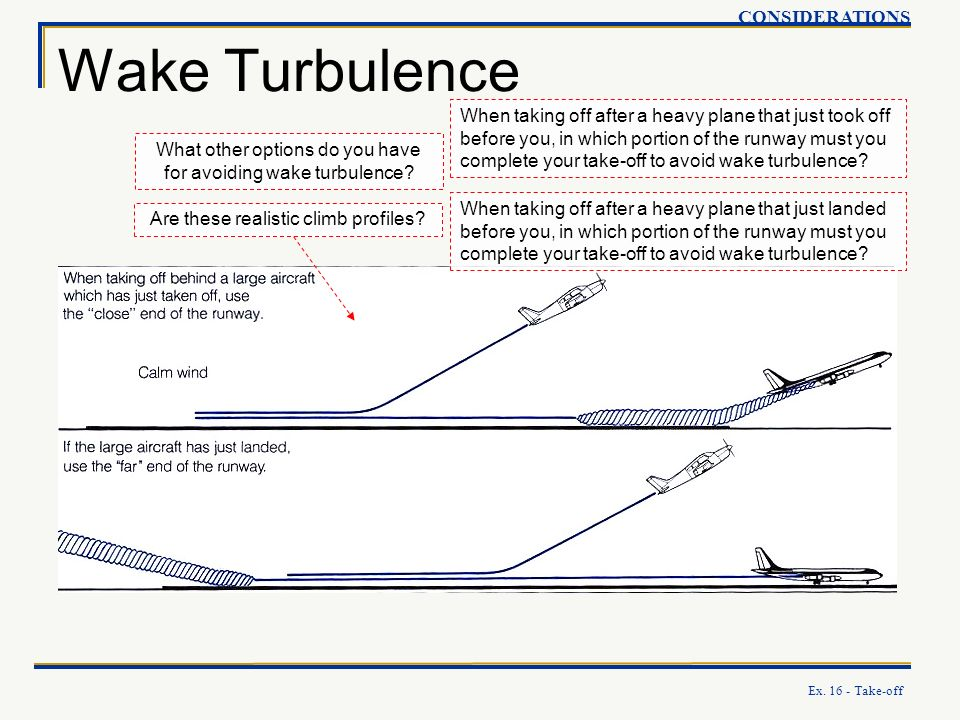 Ex. 16 - Take-off Wake Turbulence CONSIDERATIONS When taking off after a heavy plane that just took off before you, in which portion of the runway mus