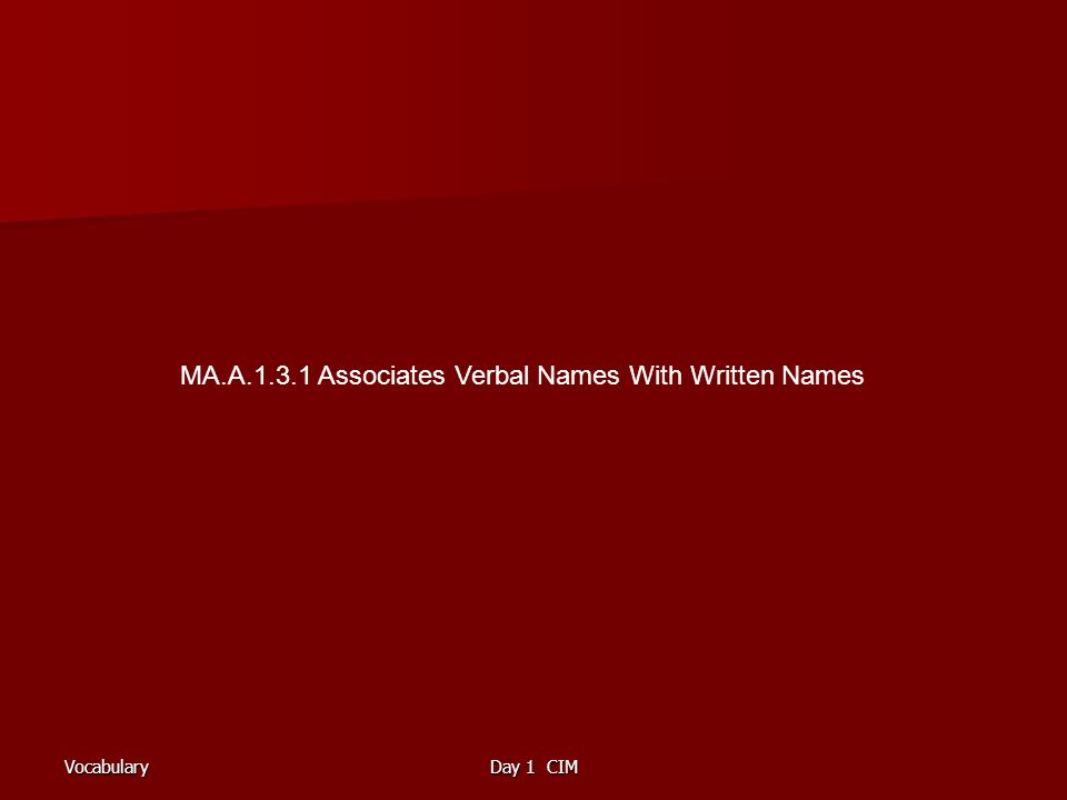 VocabularyDay 1 CIM MA.A.1.3.1 Associates Verbal Names With Written Names