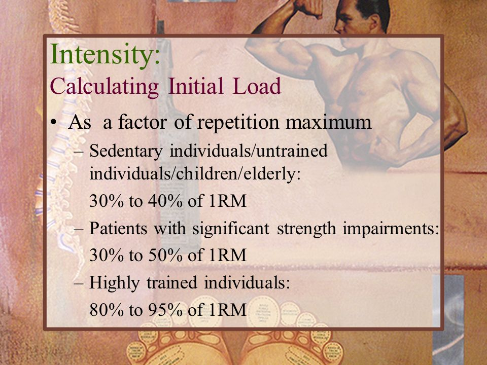 As a factor of repetition maximum –Sedentary individuals/untrained individuals/children/elderly: 30% to 40% of 1RM –Patients with significant strength