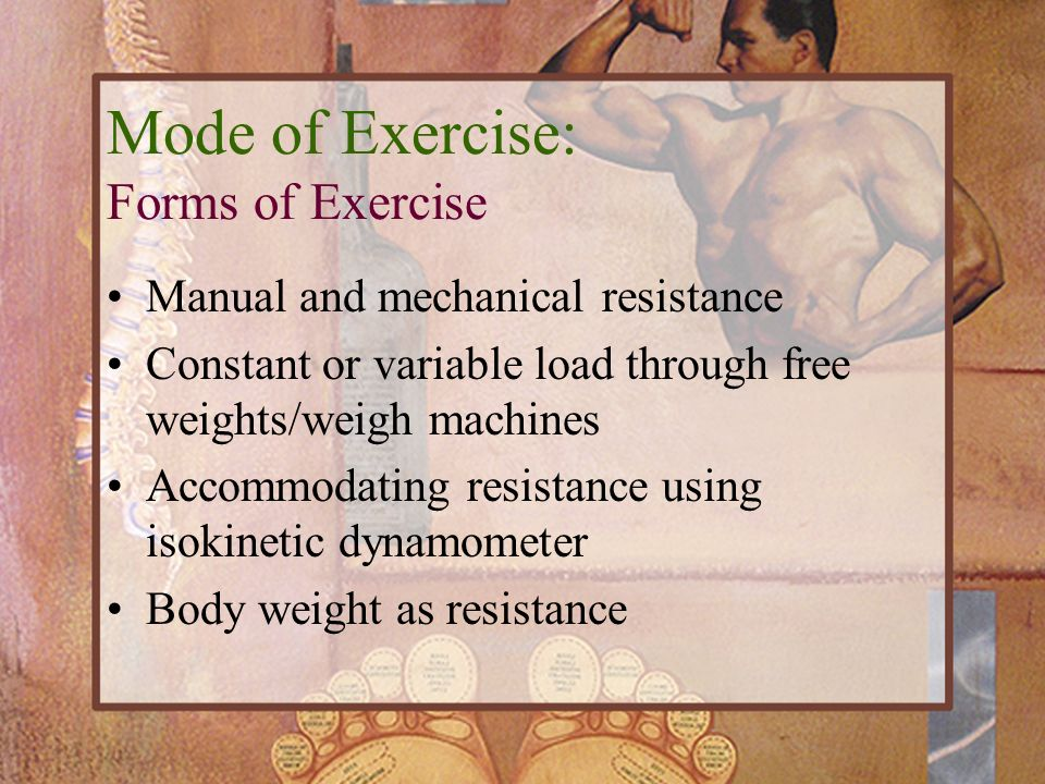 Manual and mechanical resistance Constant or variable load through free weights/weigh machines Accommodating resistance using isokinetic dynamometer B