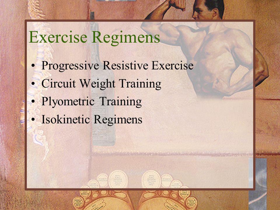 Exercise Regimens Progressive Resistive Exercise Circuit Weight Training Plyometric Training Isokinetic Regimens