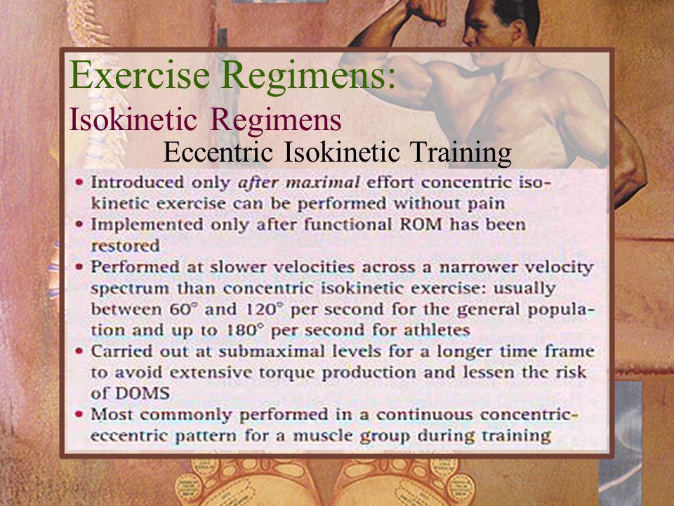 Eccentric Isokinetic Training Exercise Regimens: Isokinetic Regimens