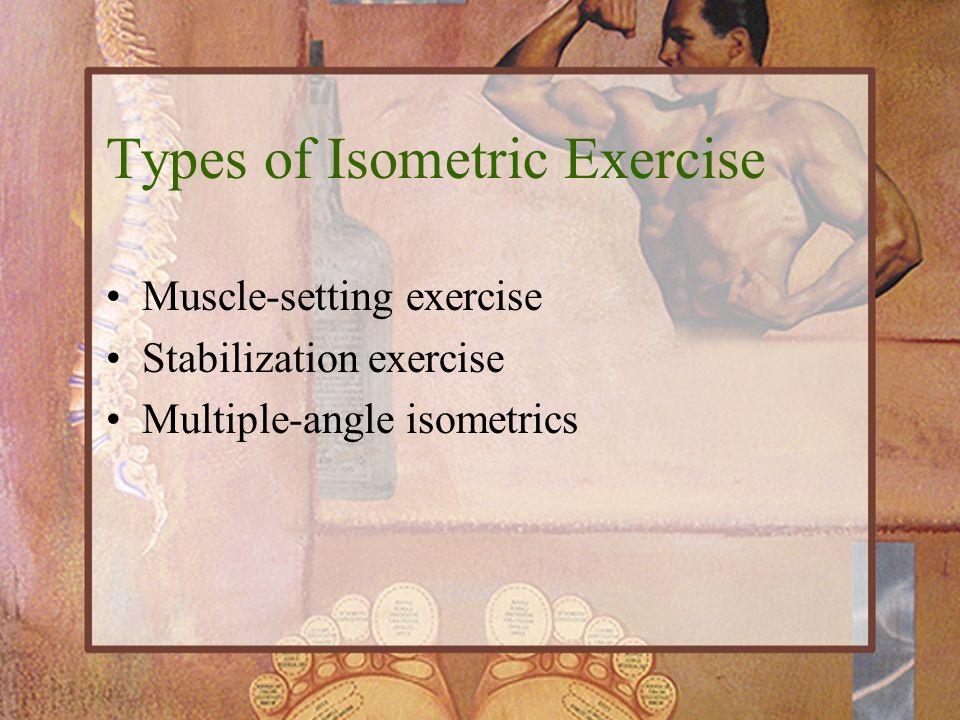Muscle-setting exercise Stabilization exercise Multiple-angle isometrics Types of Isometric Exercise