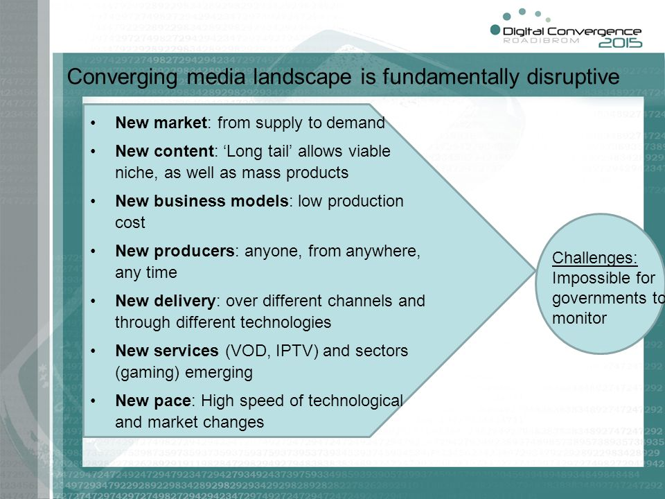 Converging media landscape is fundamentally disruptive New market: from supply to demand New content: Long tail allows viable niche, as well as mass p
