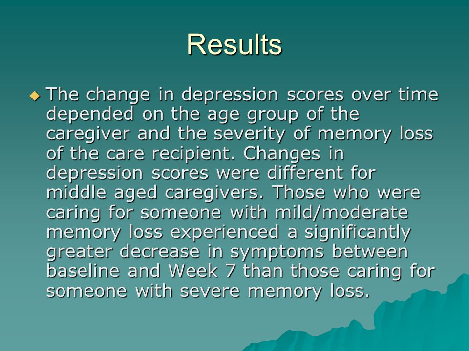 Results The change in depression scores over time depended on the age group of the caregiver and the severity of memory loss of the care recipient. Ch