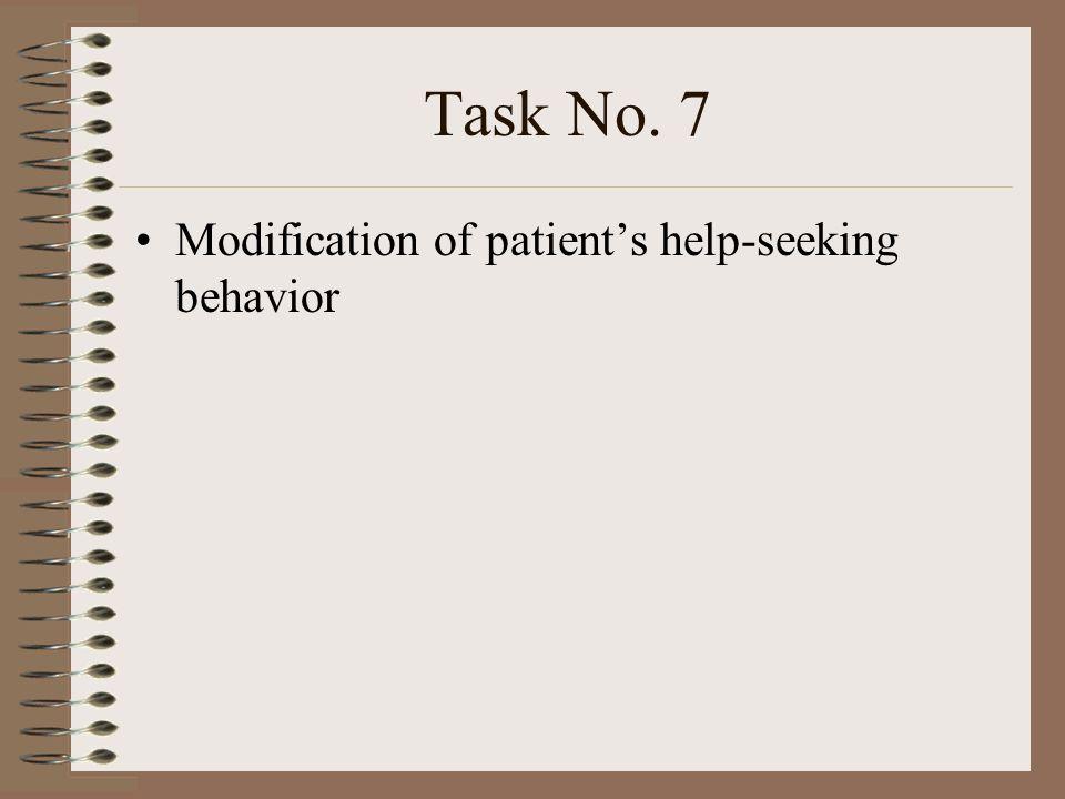 Task No. 7 Modification of patients help-seeking behavior
