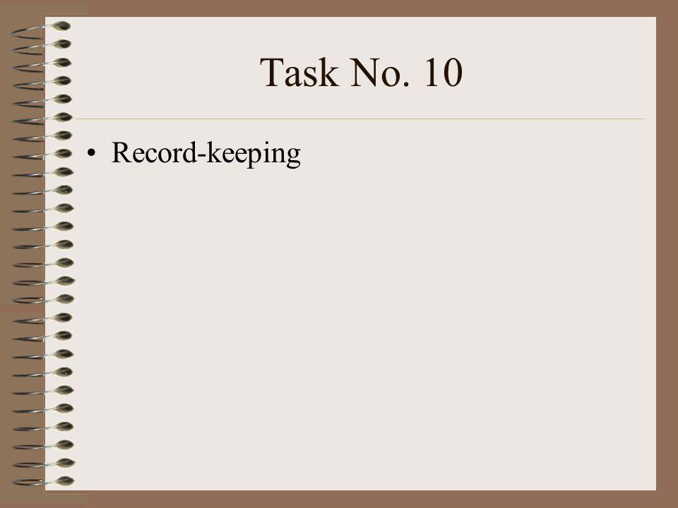 Task No. 10 Record-keeping