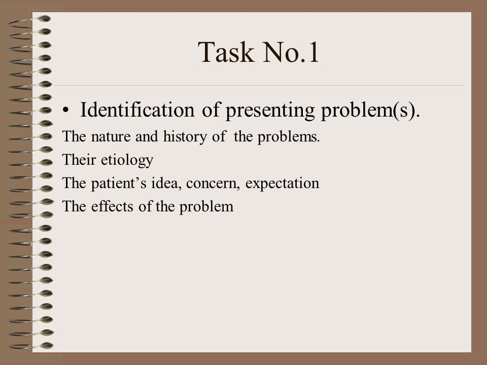 Task No.1 Identification of presenting problem(s).