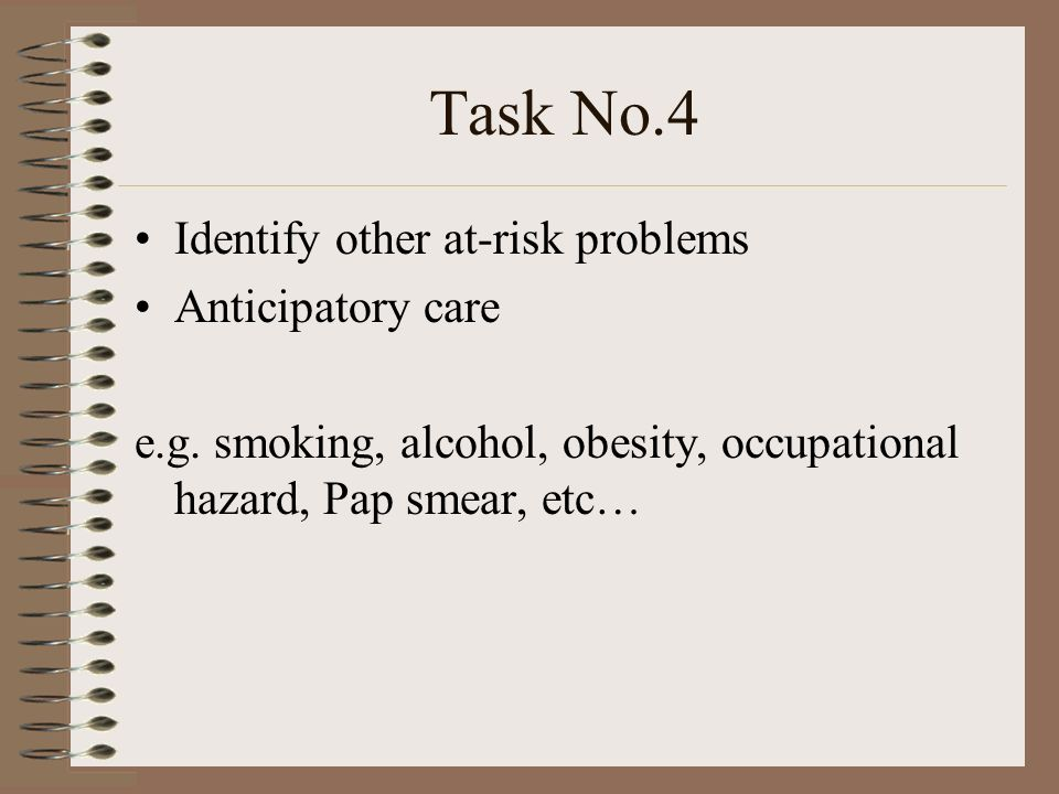 Task No.5 To achieve a shared understanding of the problems with the patient.