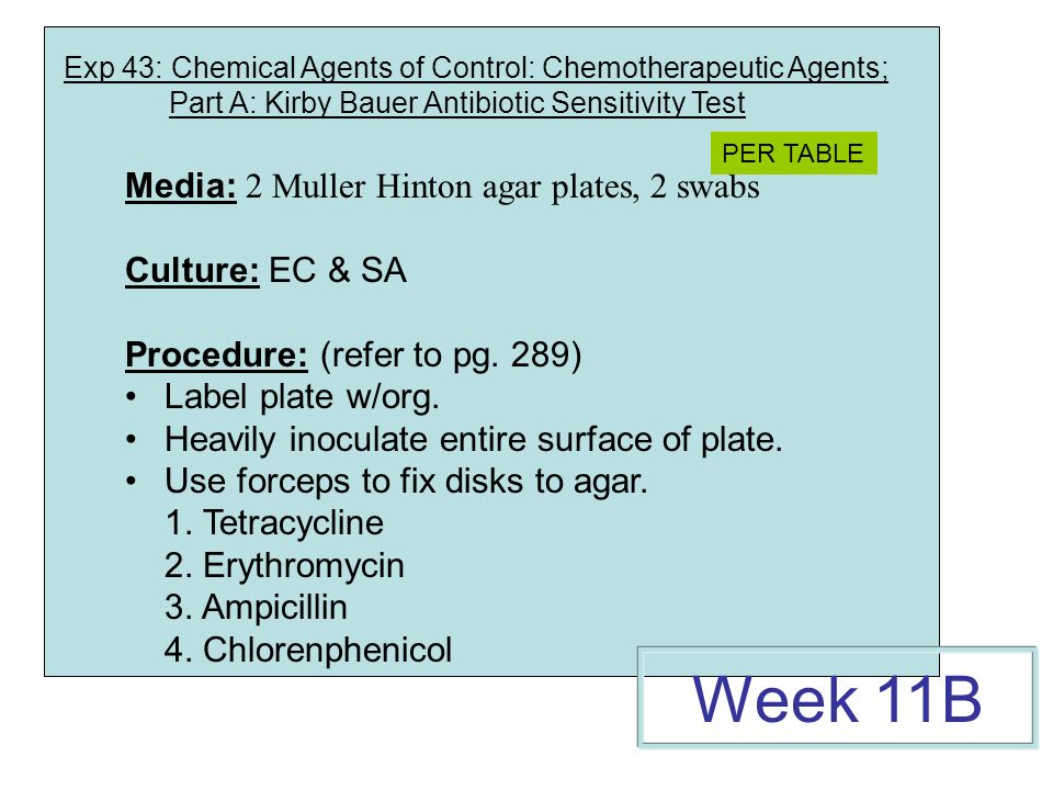 Exp 43: Chemical Agents of Control: Chemotherapeutic Agents; Part A: Kirby Bauer Antibiotic Sensitivity Test Media: 2 Muller Hinton agar plates, 2 swabs Culture: EC & SA Procedure: (refer to pg.