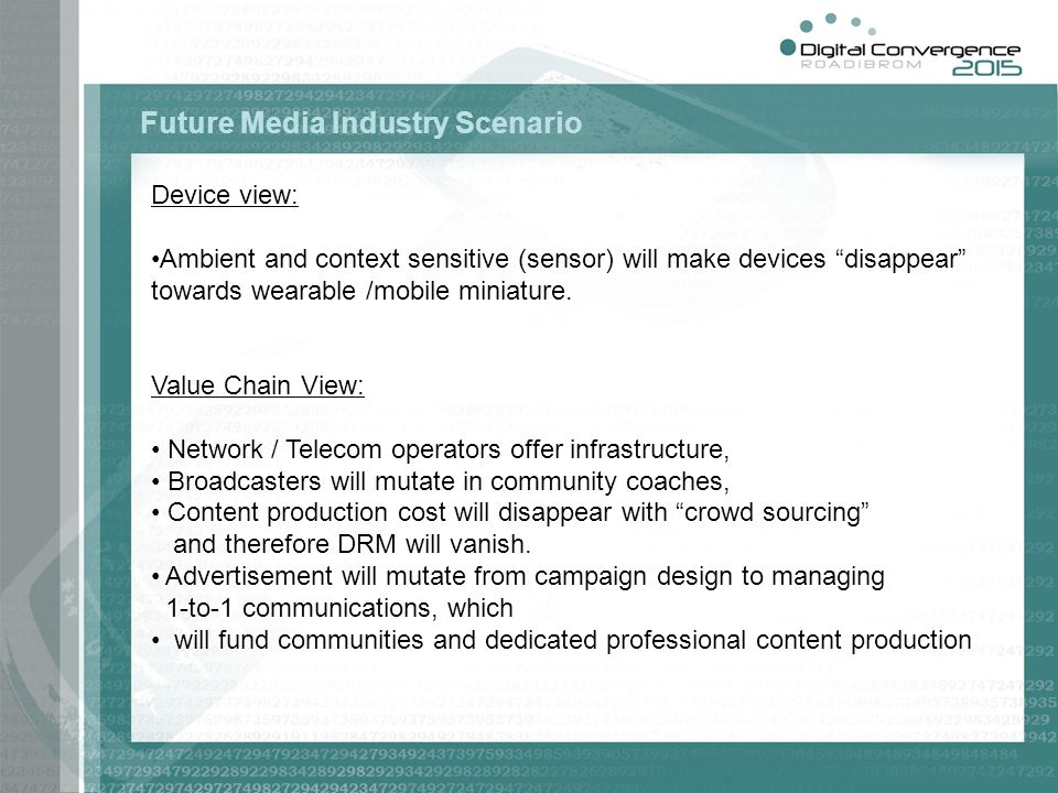 Device view: Ambient and context sensitive (sensor) will make devices disappear towards wearable /mobile miniature. Value Chain View: Network / Teleco