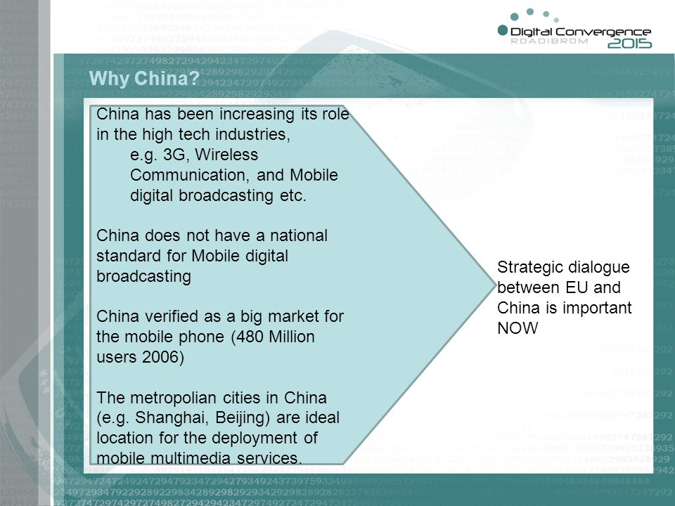 China has been increasing its role in the high tech industries, e.g. 3G, Wireless Communication, and Mobile digital broadcasting etc. China does not h