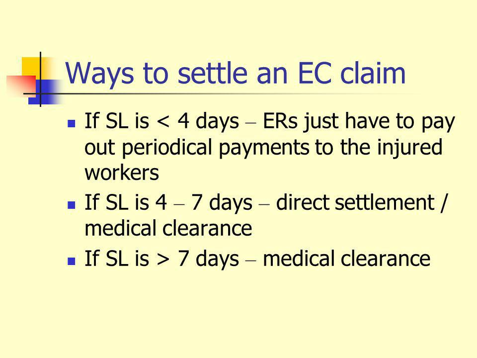 Medical Clearance For cases with more than 7days sick leave or has not been settled by direct settlement, I/P has to come to Occupational Medicine Unit (OMU) for medical clearance : If I/P got less than 30 days sick leave, 2 weeks after resume duty If I/P got more than 30 days sick leave, 1 month after the injury