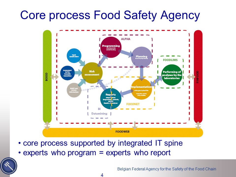 Belgian Federal Agency for the Safety of the Food Chain Core process Food Safety Agency core process supported by integrated IT spine experts who program = experts who report 4