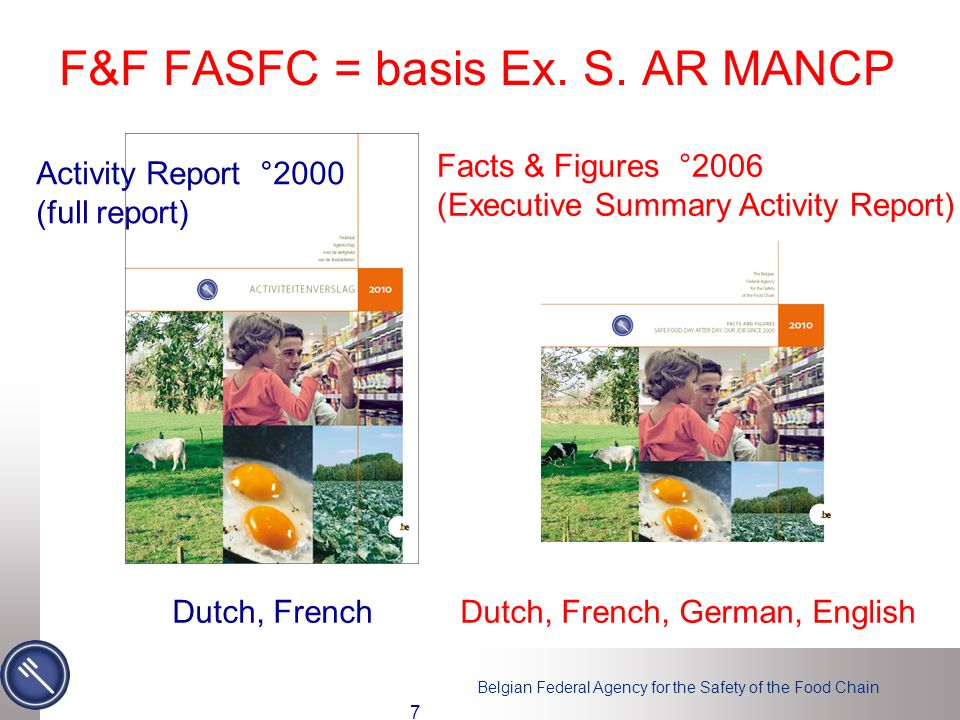 Belgian Federal Agency for the Safety of the Food Chain F&F FASFC = basis Ex.