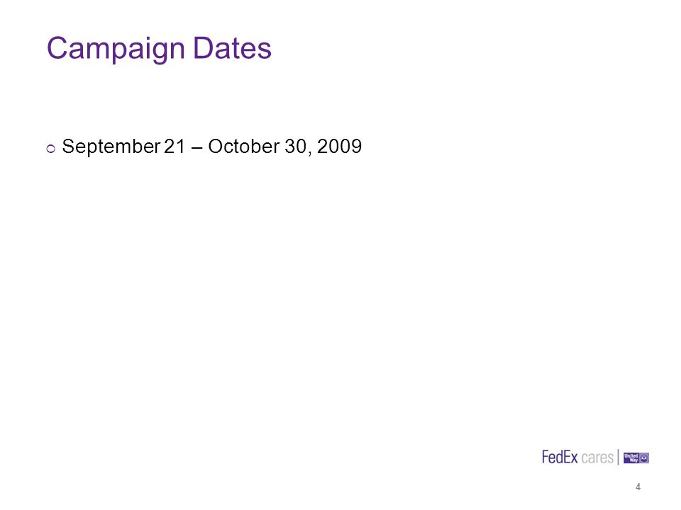 Campaign Dates 4 September 21 – October 30, 2009