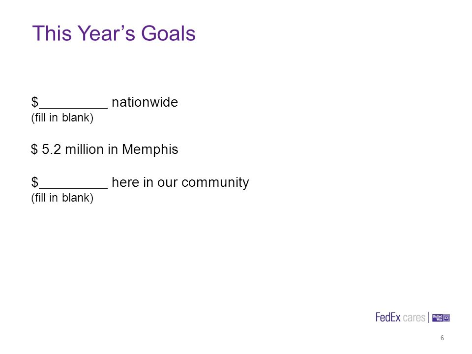 6 This Years Goals $ nationwide (fill in blank) $ 5.2 million in Memphis $ here in our community (fill in blank)