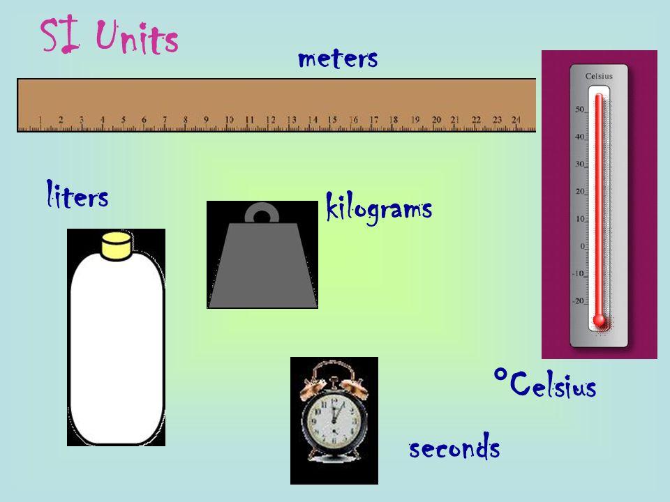 meters °Celsius seconds kilograms liters SI Units
